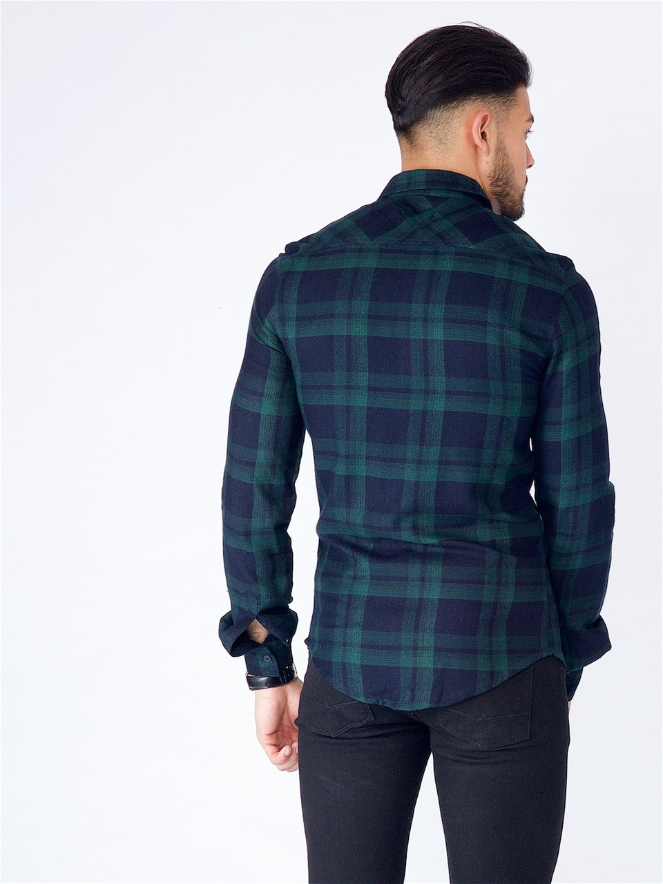 Green Long Sleeve Viscose Check Shirt