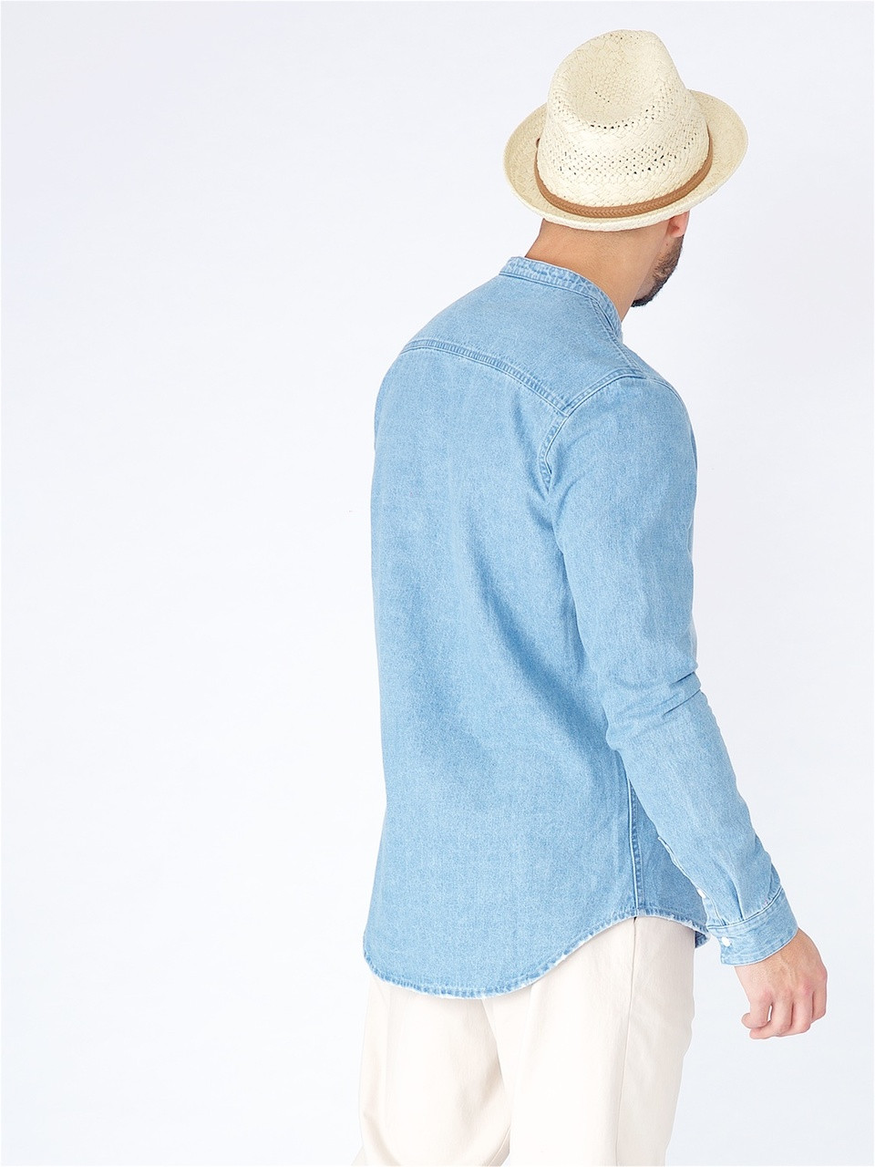 Blue Denim Grandad Collar Shirt