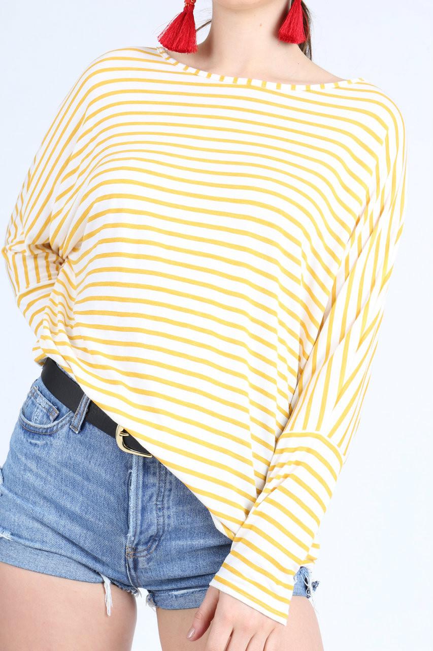Mustard Stripe Longsleeve Batwing Dip Hem Top