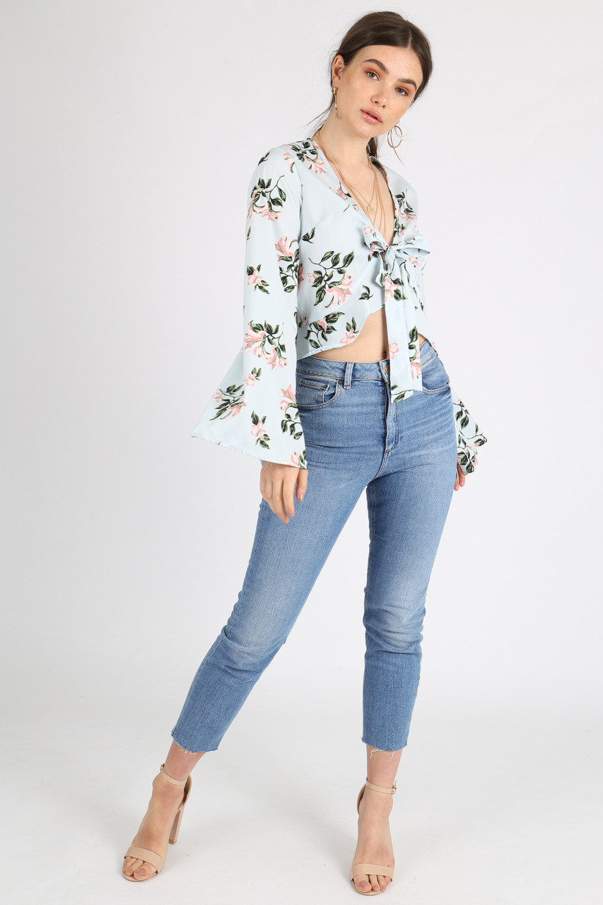 Blue Floral Tie Front Flute Sleeve Crop