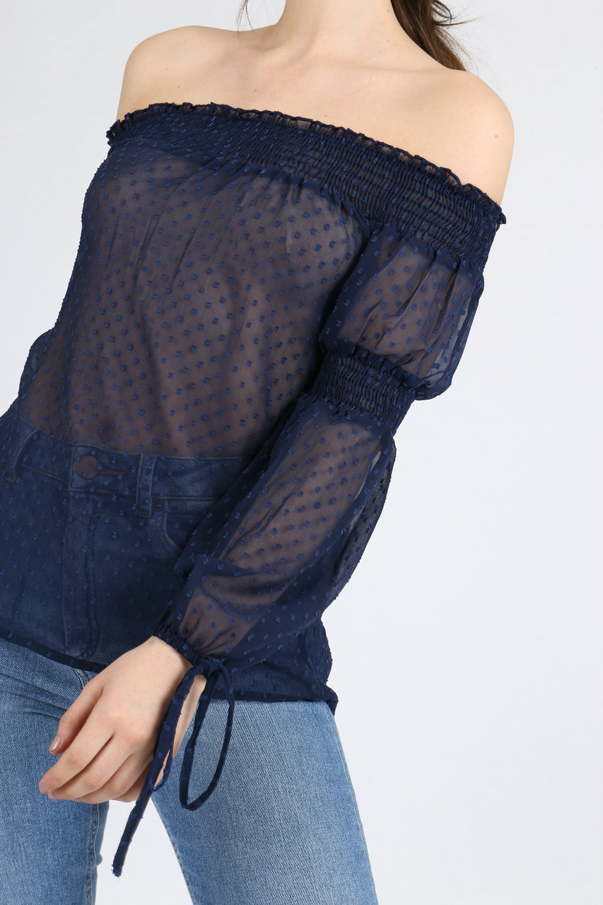 Sheer Blue Shirred Bardot Top