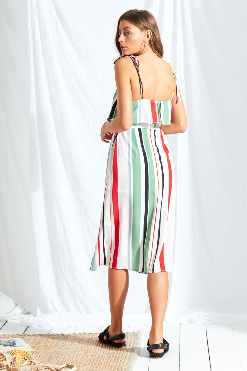 Rio Stripe Double Layer Midi Dress