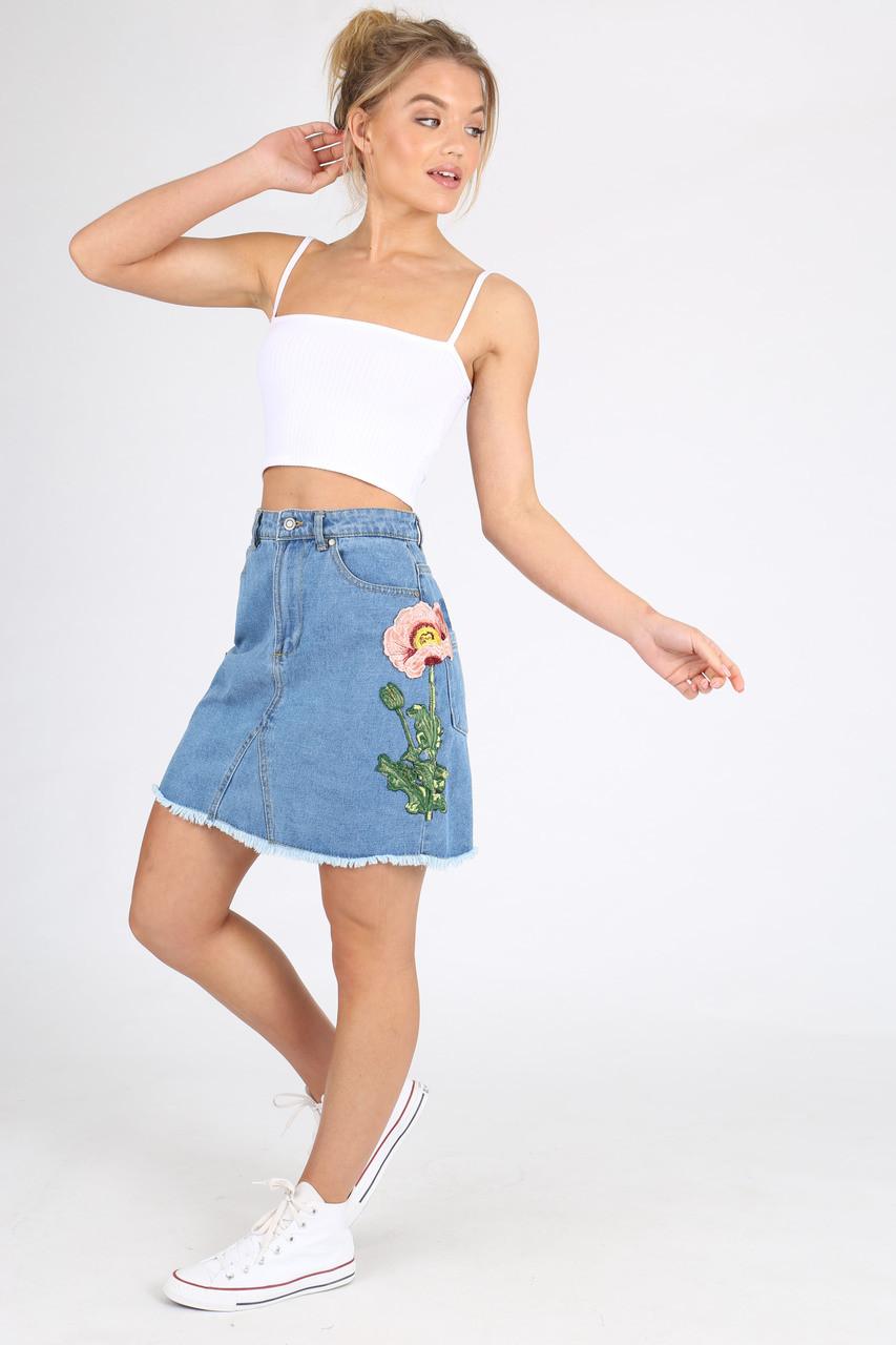Embroidered Mid Wash Denim Mini Skirt