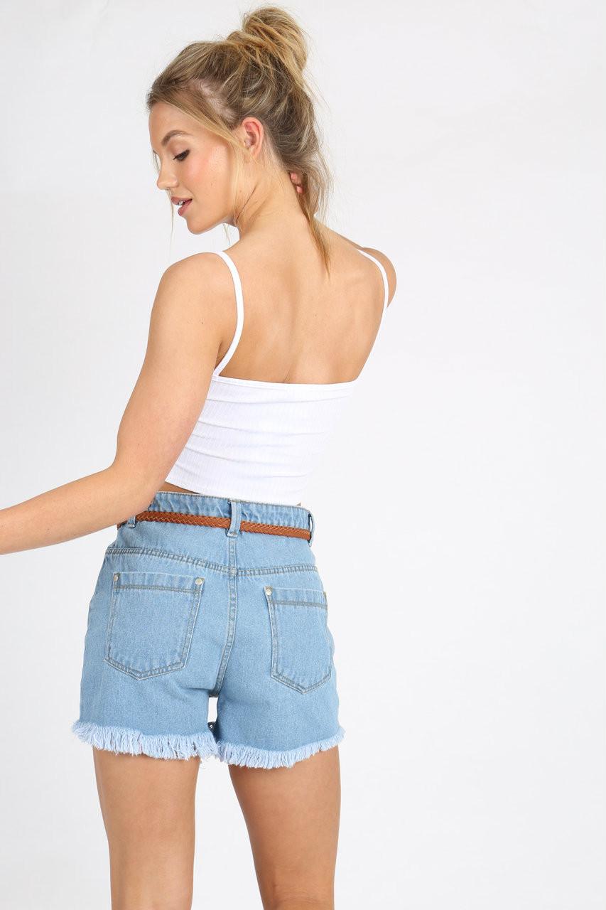Light Wash Frayed Hem Embroidered Denim Shorts