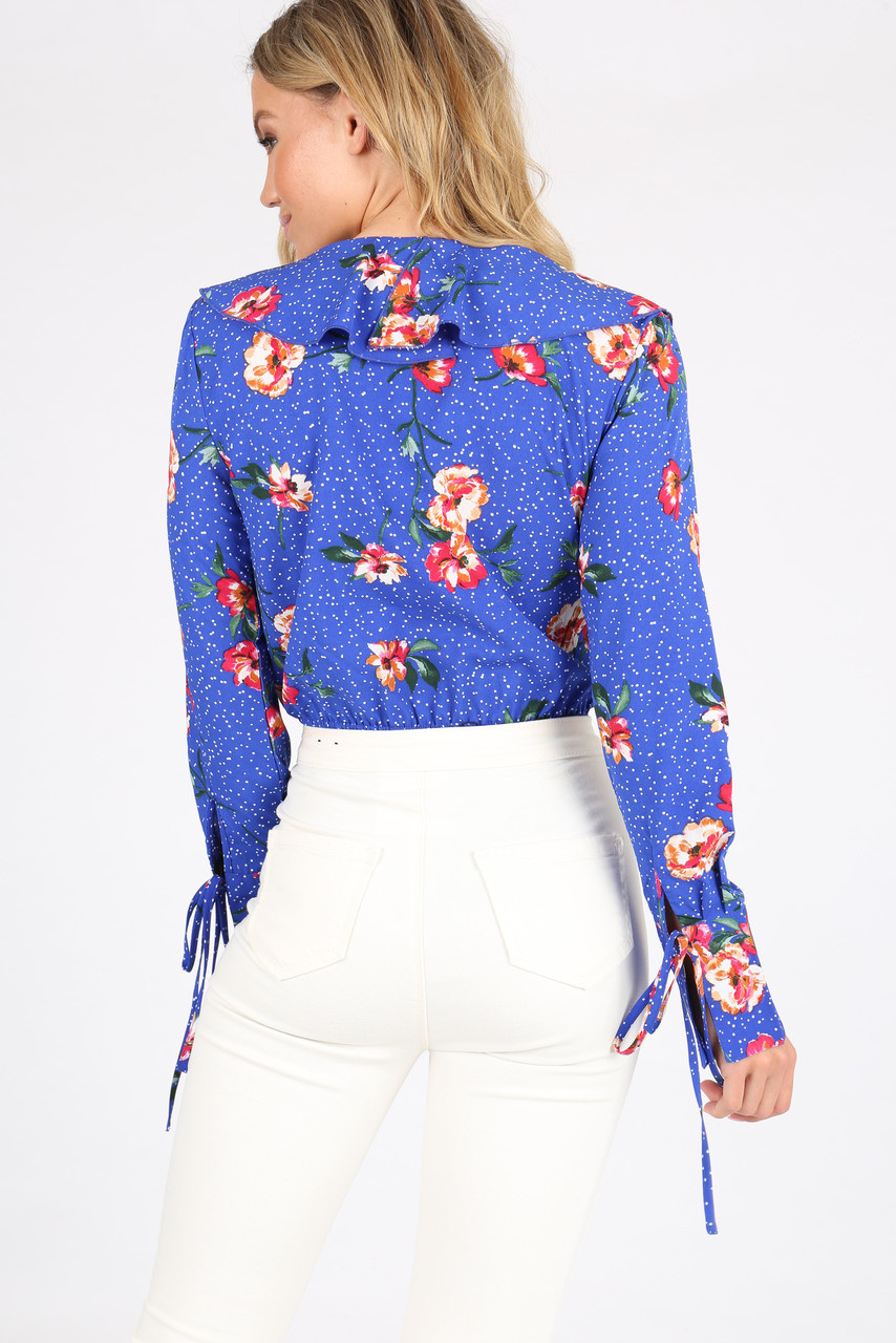 Blue Floral Ruffle Front Plunge Bodysuit