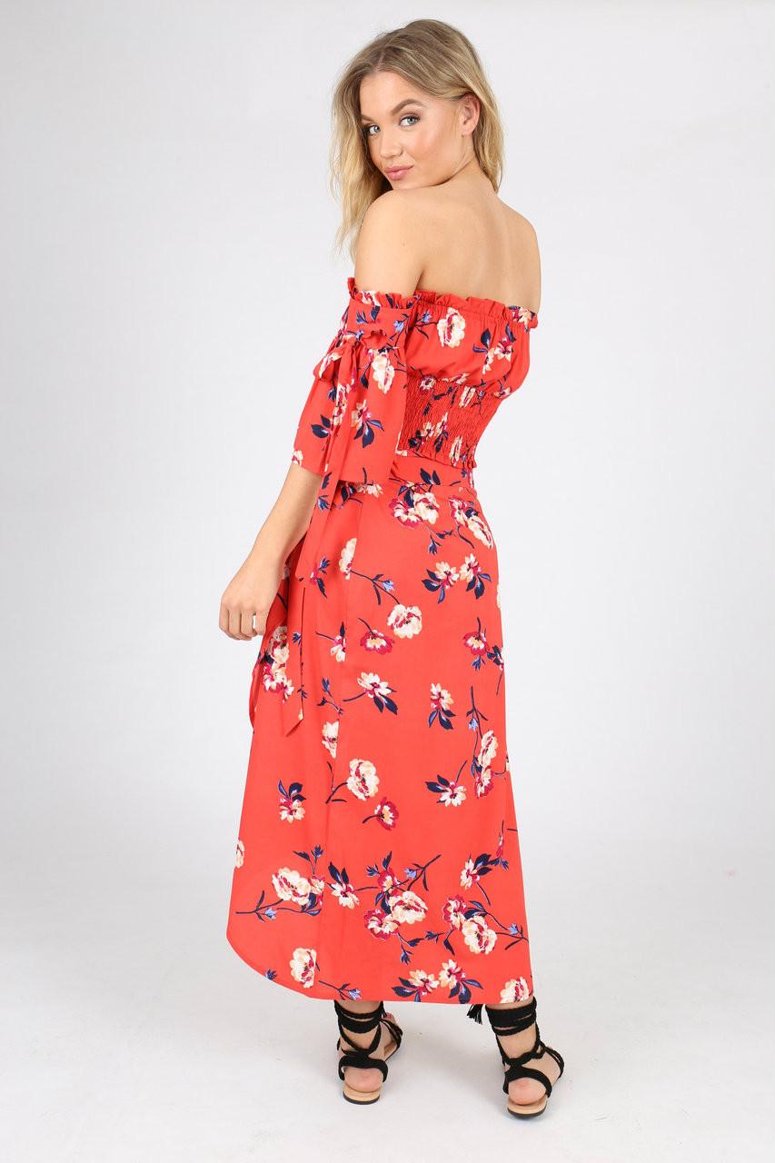 Red Floral Shirred Waist Bardot Crop Top