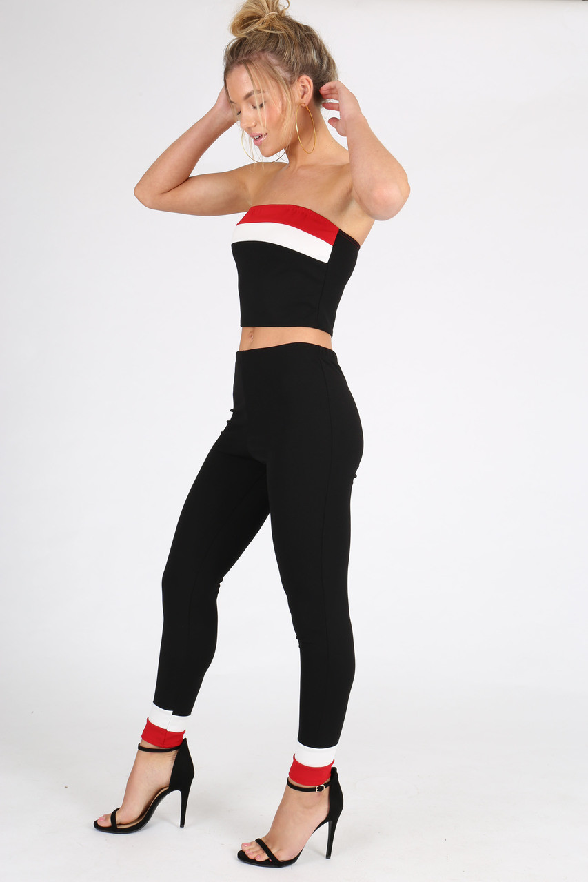 Black Colour Block Sports Stripe Co Ord Set