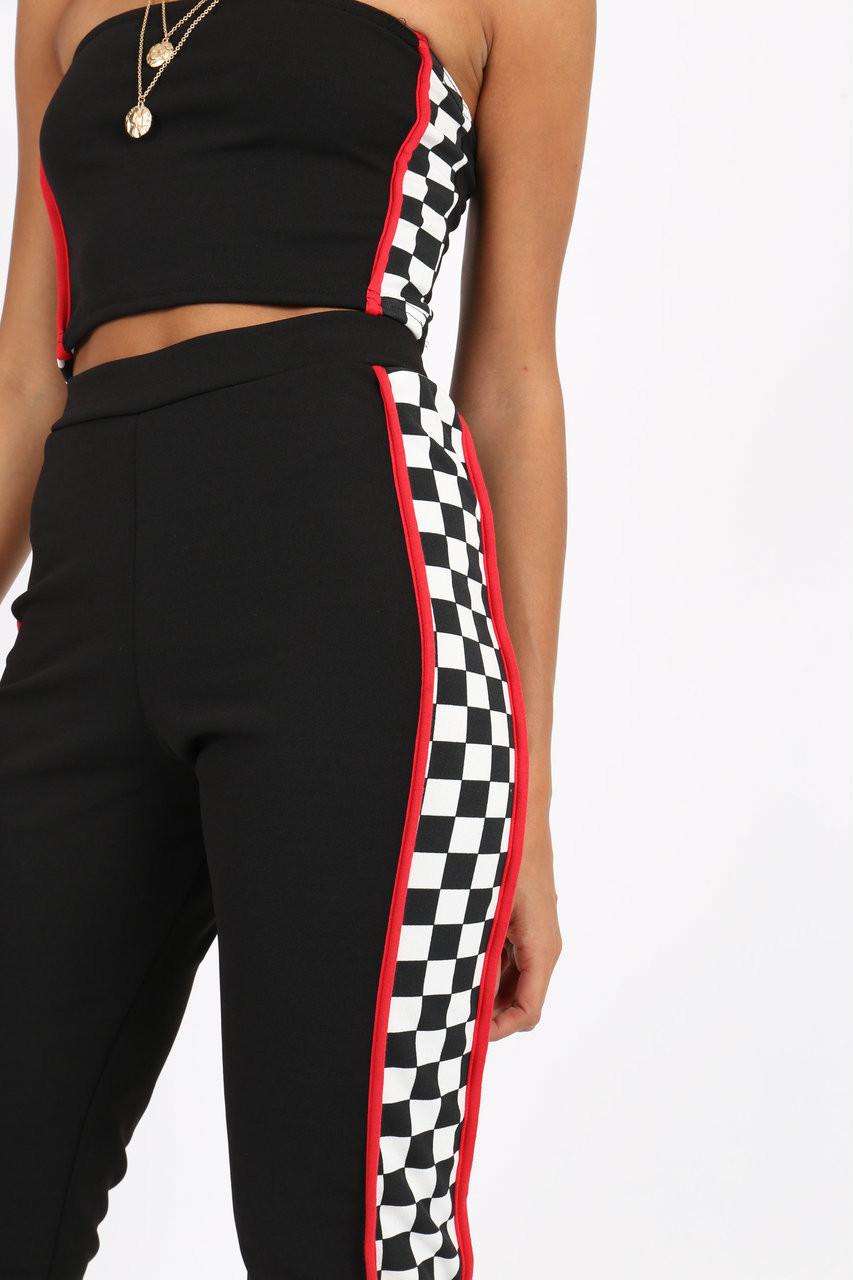 Black/White Check Bandeau Trouser Co-ord