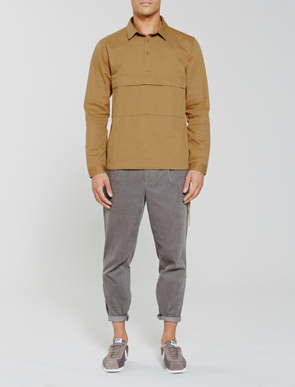 Sand Woodside Shirt With Large Front Pocket And Drawcord Hem