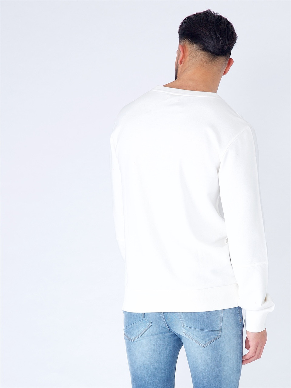 White Long Sleeve Sweat with Kangaroo Pocket