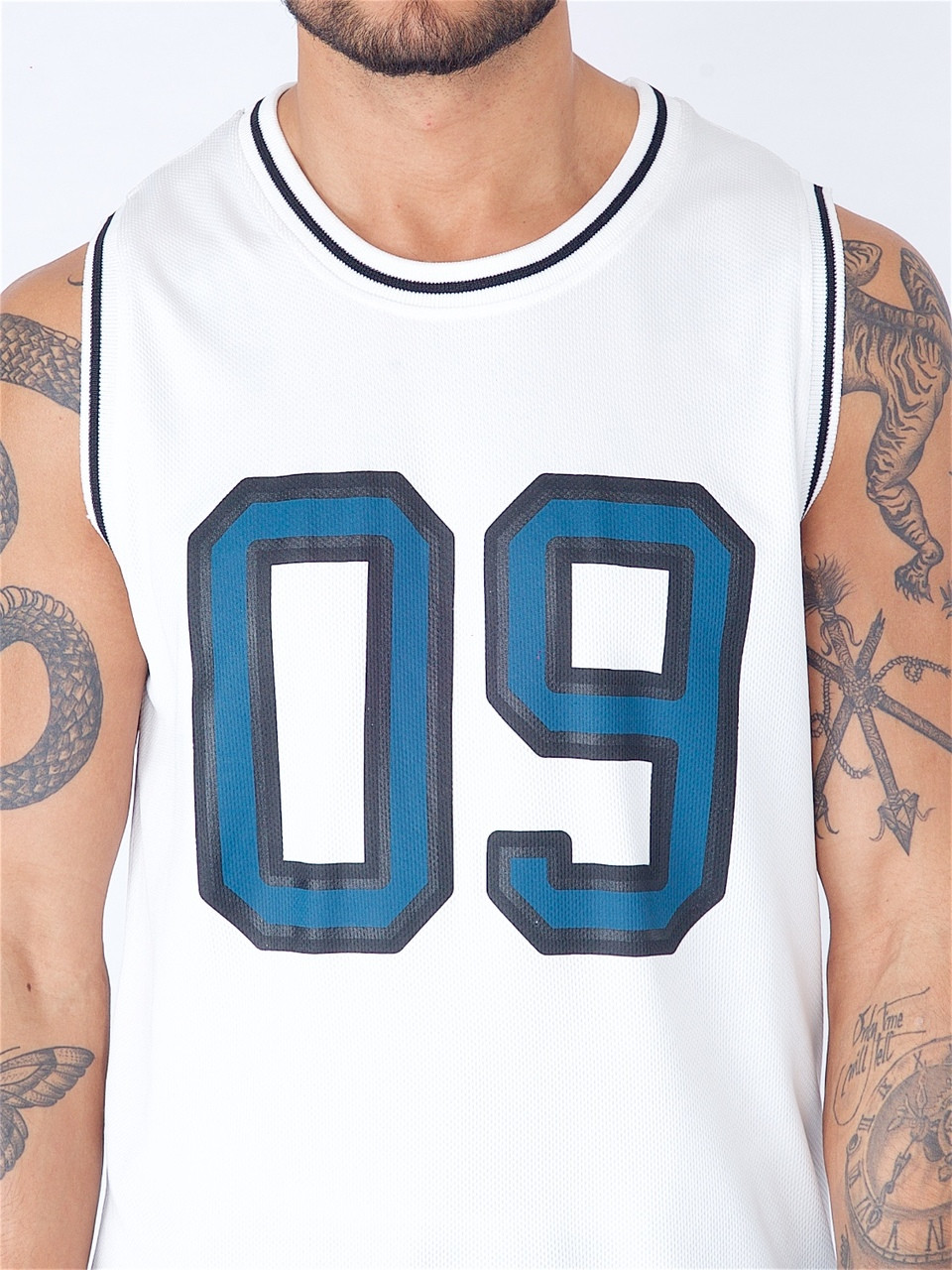 White Basketball Vest with Printed Number