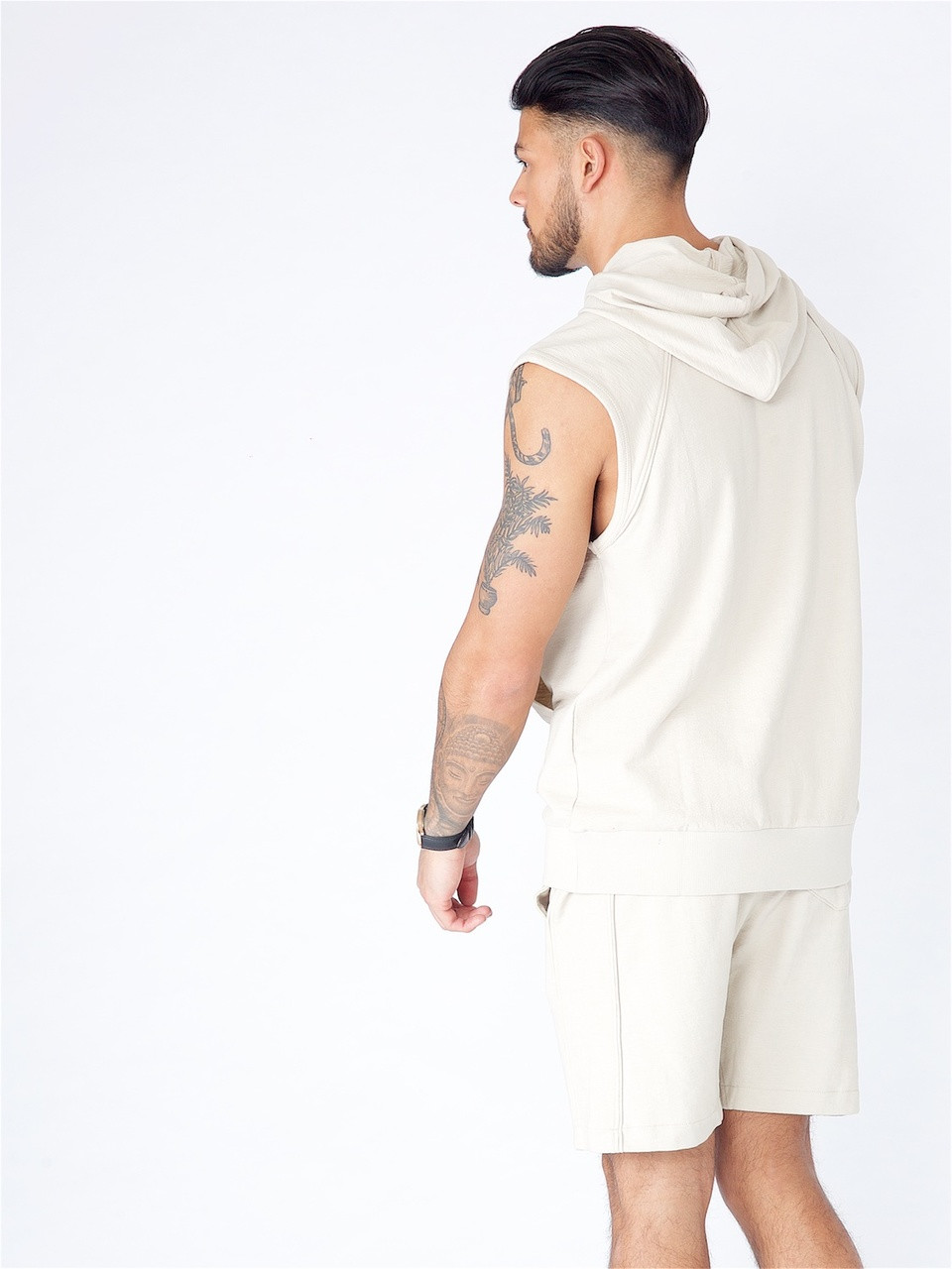 Stone Sleeveless Hooded Sweat With Piping Detail & Enzyme Wash