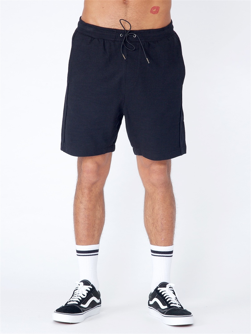Black Sweat Short Whit Heavy Enzyme Wash & Piping Detail