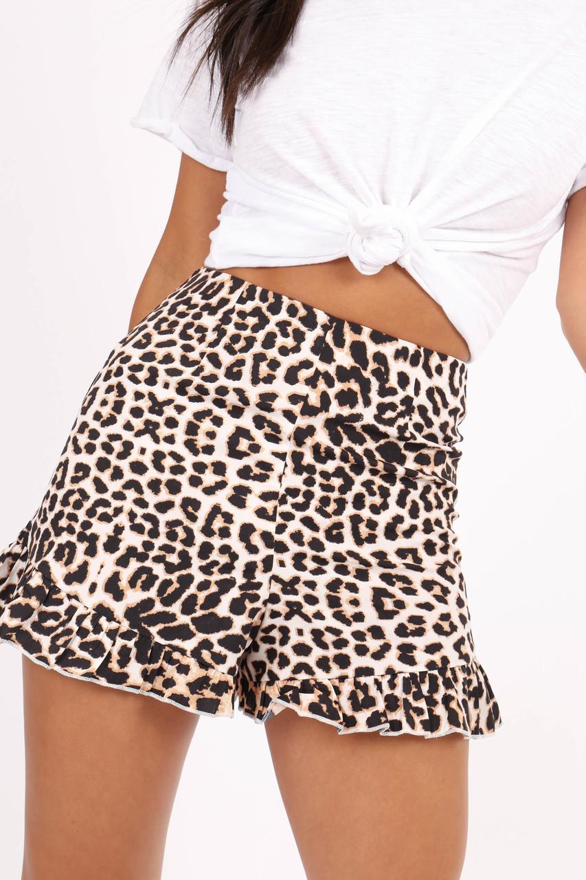 Leopard Print High Waist Frill Hem Shorts
