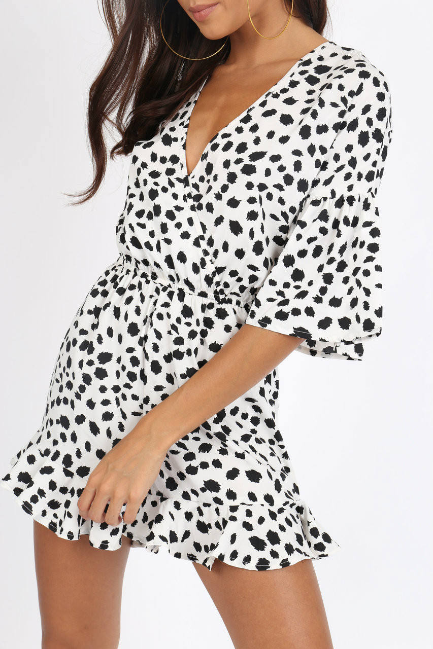 White Dalmatian Print Ruffle Hem Playsuit