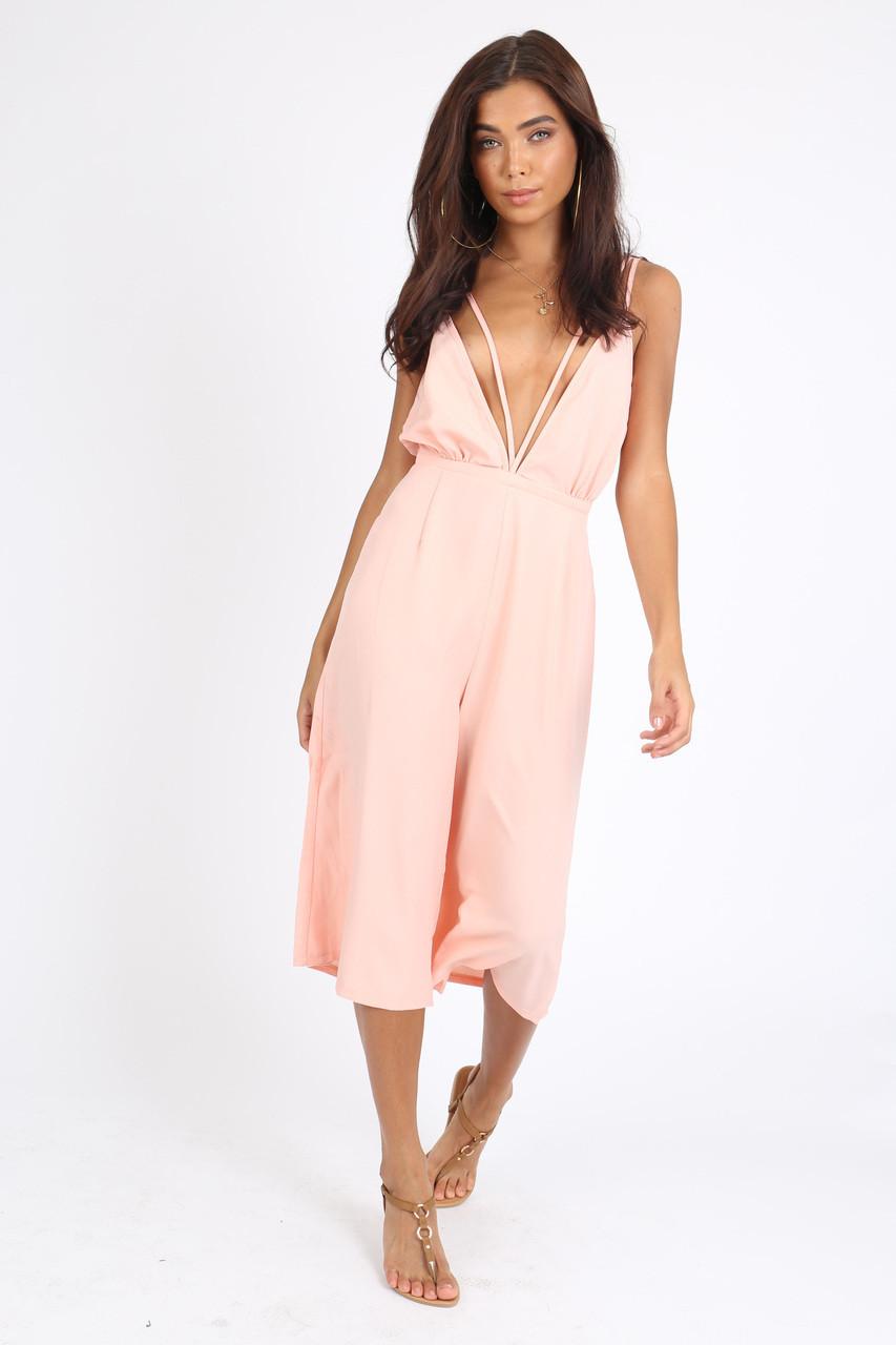 Pink Deep Plunge Culotte Jumpsuit