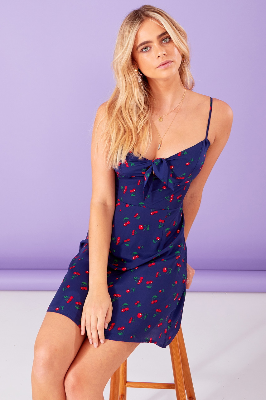 Cherry Print Tie Front Mini Dress