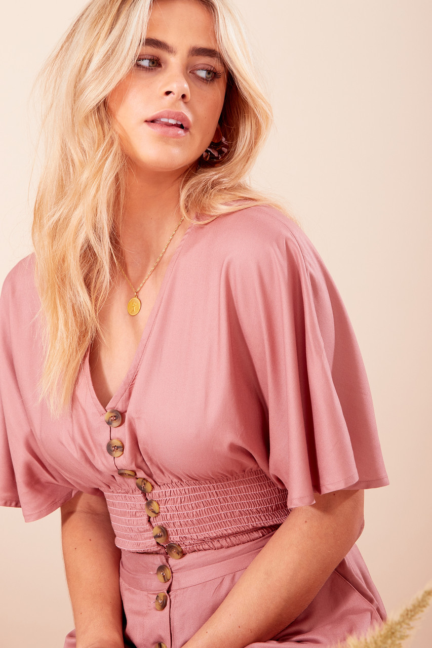 Pink Button Down Shirred Waist Crop Top