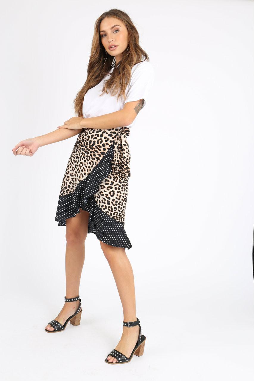 Contrast Leopard Spot Ruffle Wrap Skirt