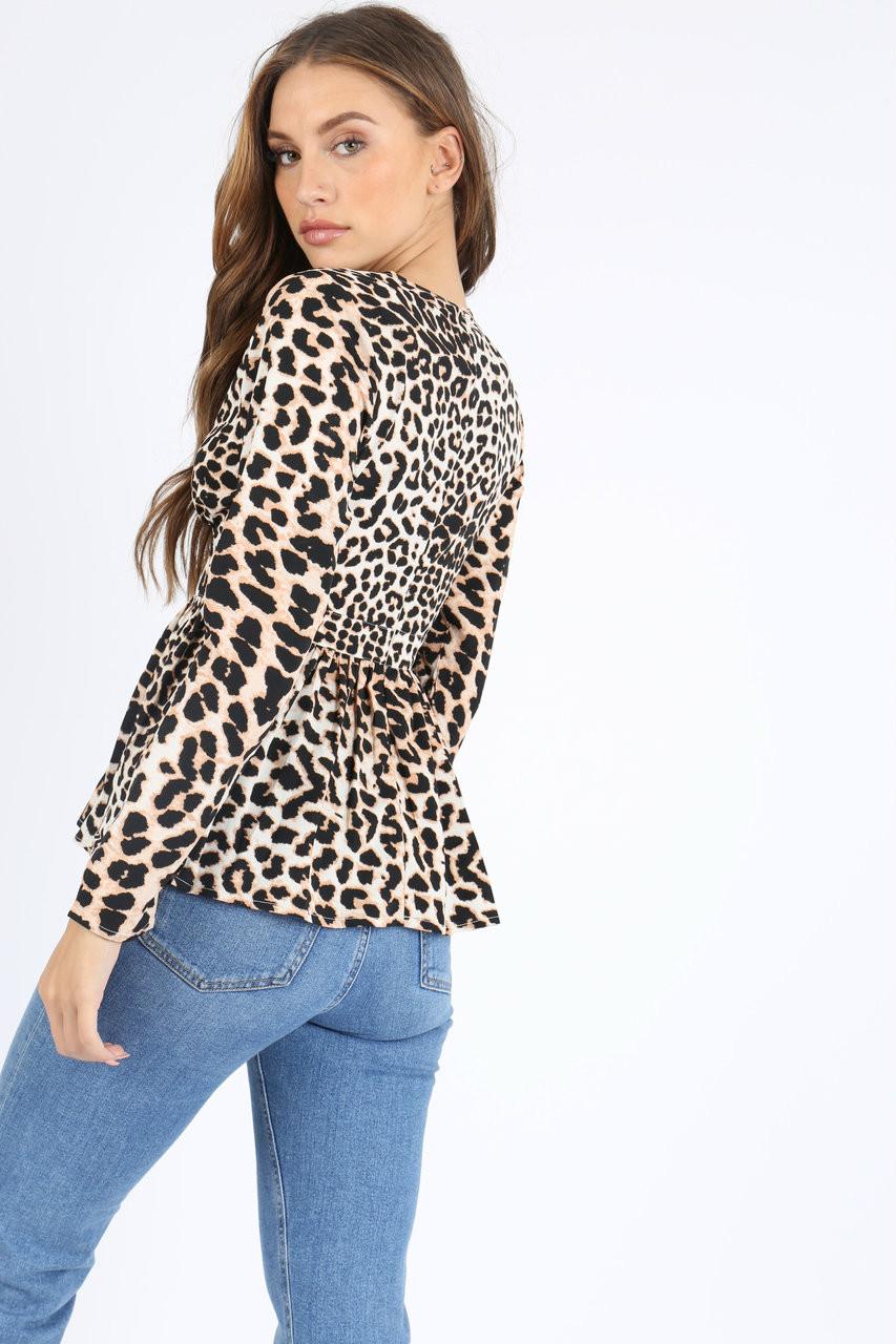 Leopard Print V Neck Peplum Top