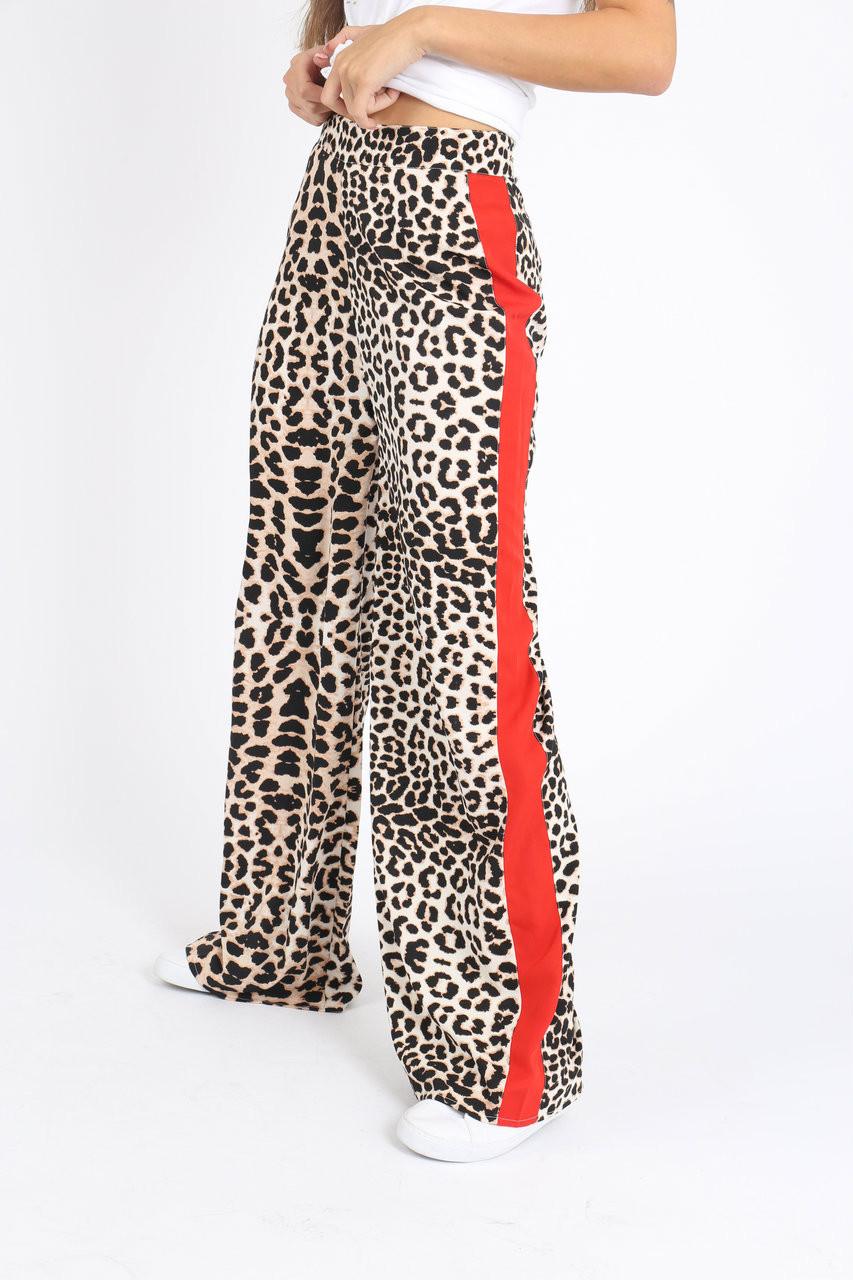 Leopard Print Sports Stripe Wide Leg Pants
