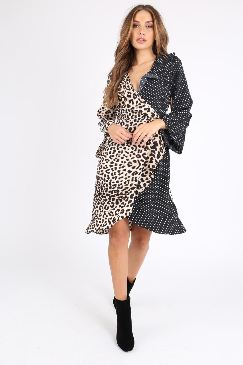 Contrast Leopard Spot Ruffle Wrap Dress