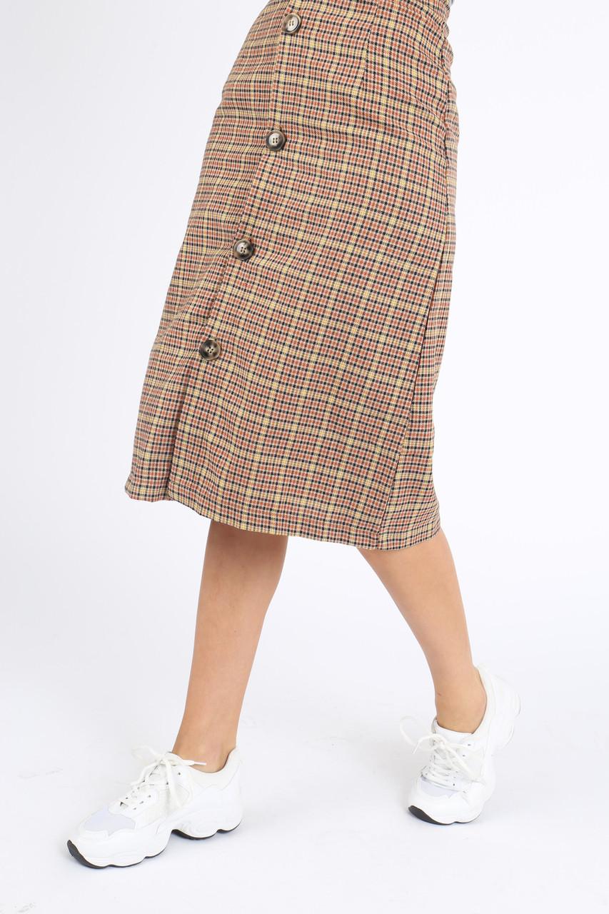 Brown Plaid Button Down Midi Skirt