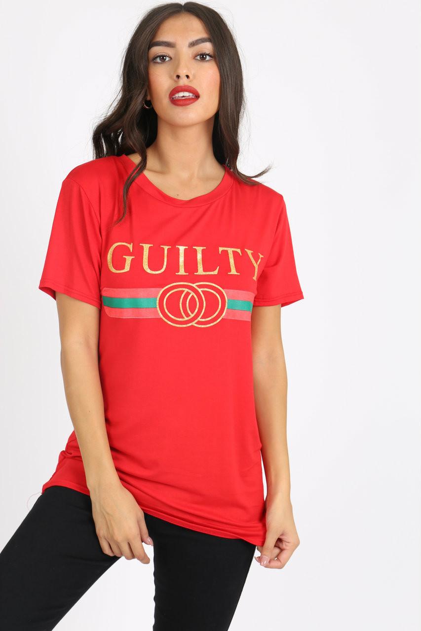 Red Guilty Slogan Tee
