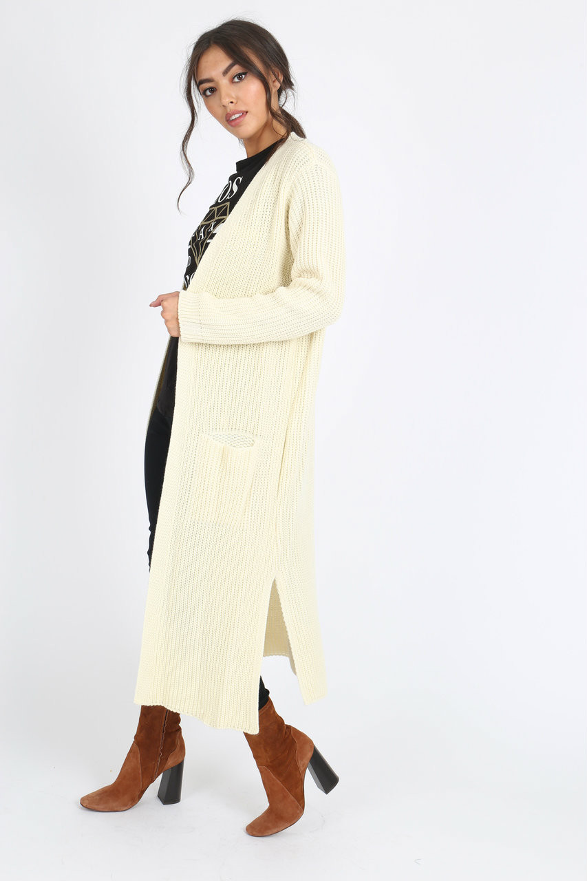 Cream Oversized Knitted Cardigan