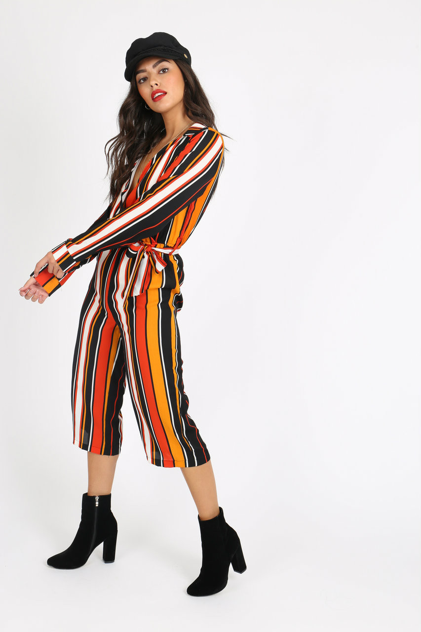 Mustard Stripe Self Tie Wrap Jumpsuit