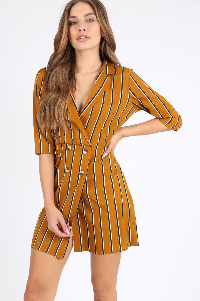 Mustard Stripe Mock Horn Button Mini Dress