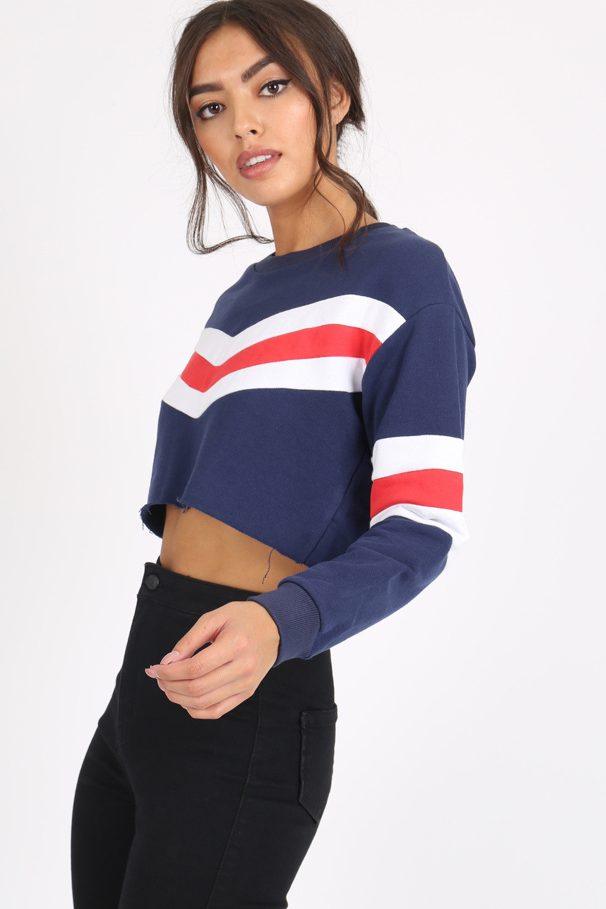 Navy Sports Stripe Crop Sweat Top