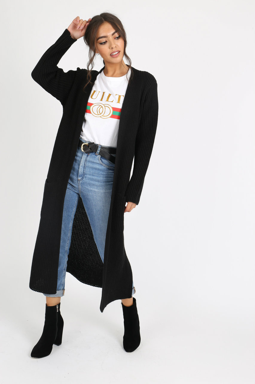 Black Over Sized Knitted Cardigan