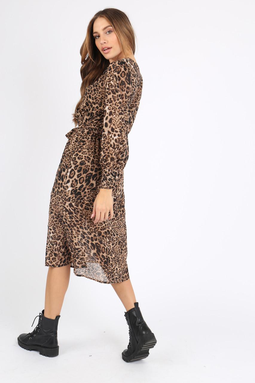 Leopard Animal Print Wrap Midi Dress
