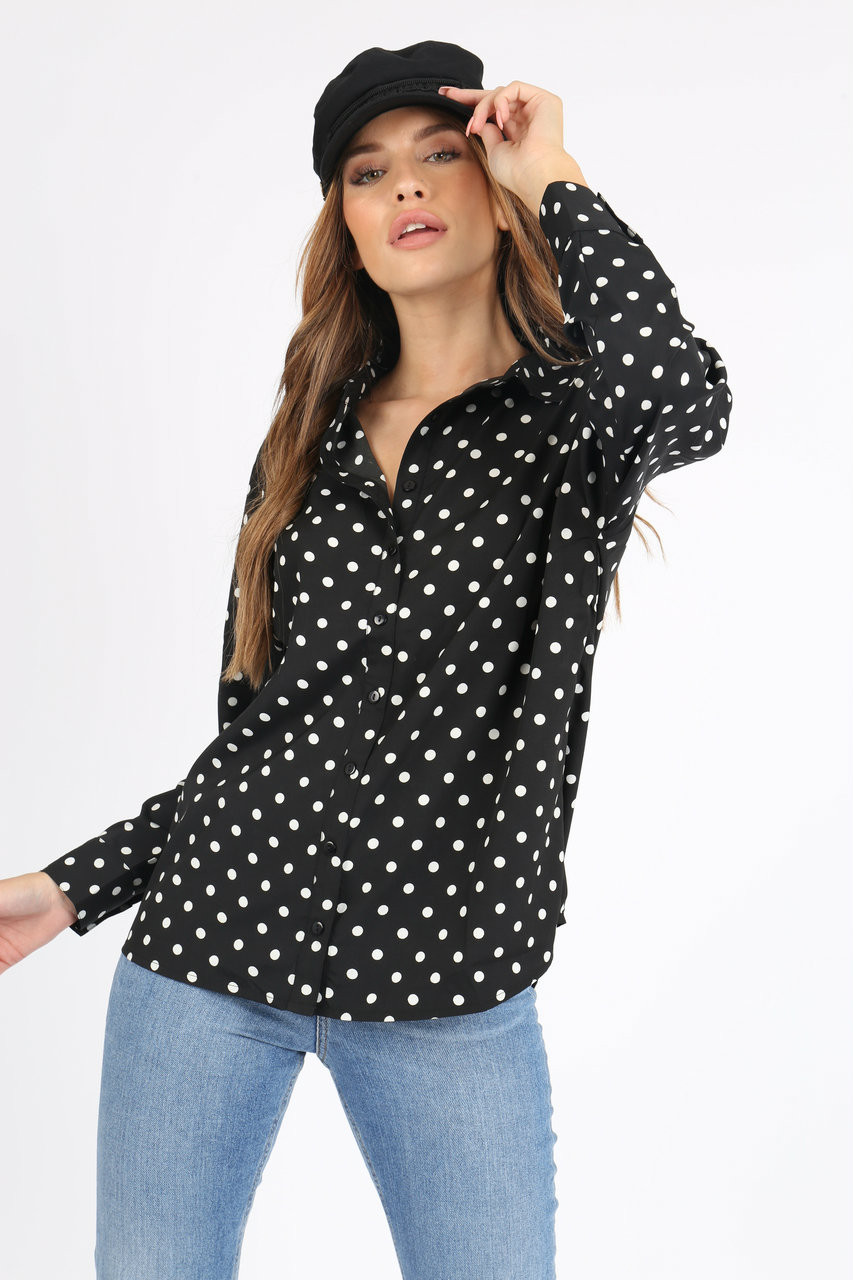 Black Polka Dot Button Down Shirt