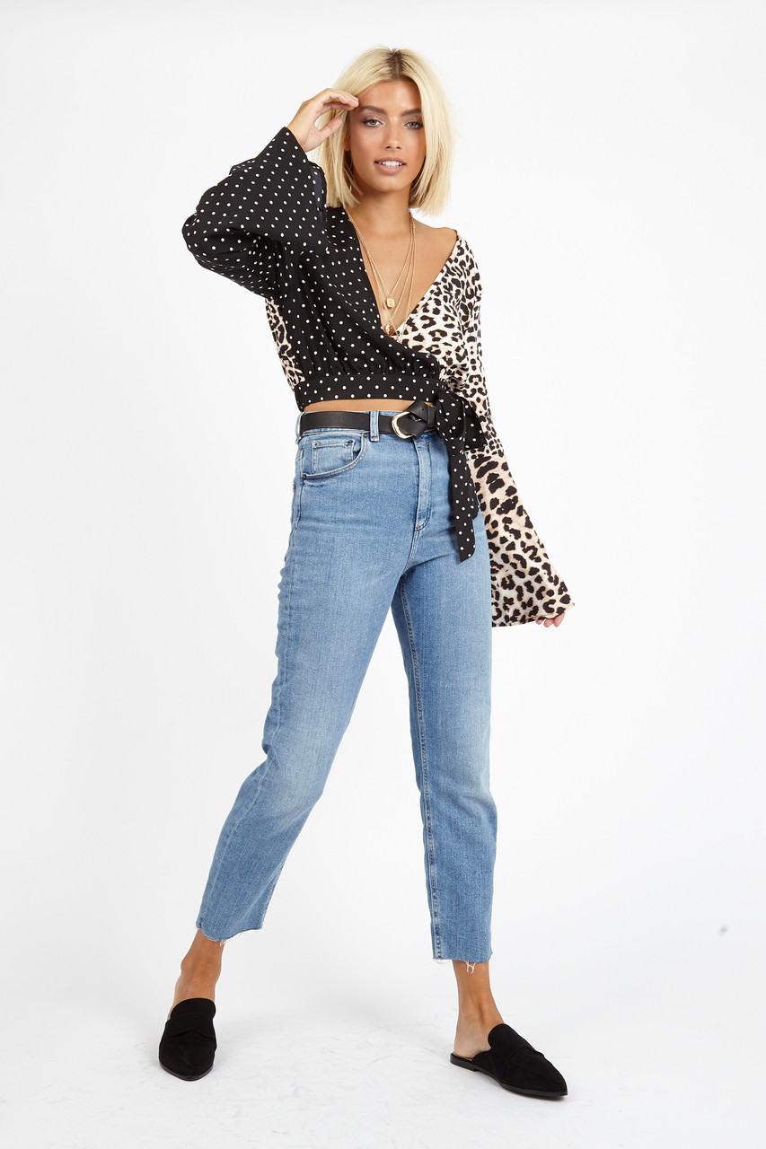 Contrast Leopard Spot Wrap Crop Top
