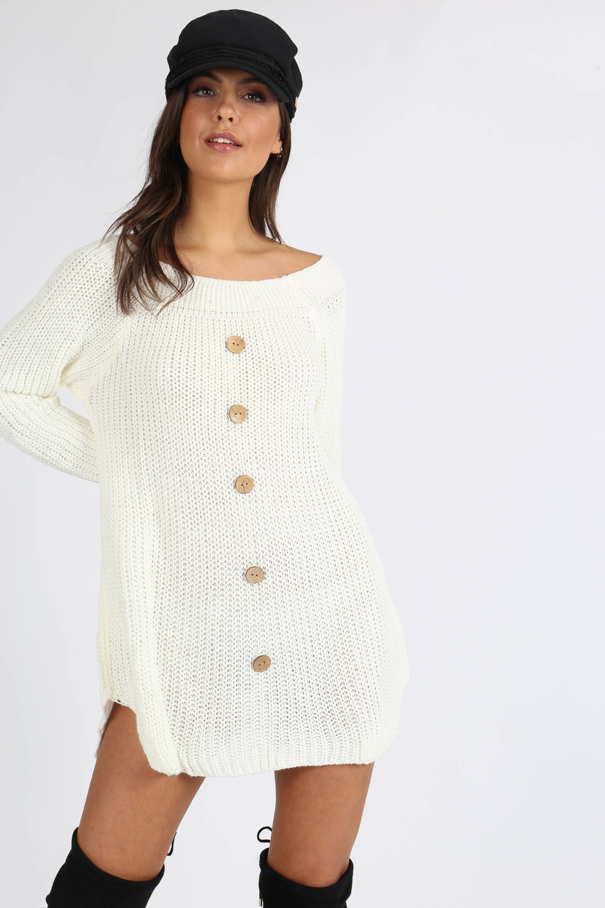 Cream Button Detail Knitted Dress