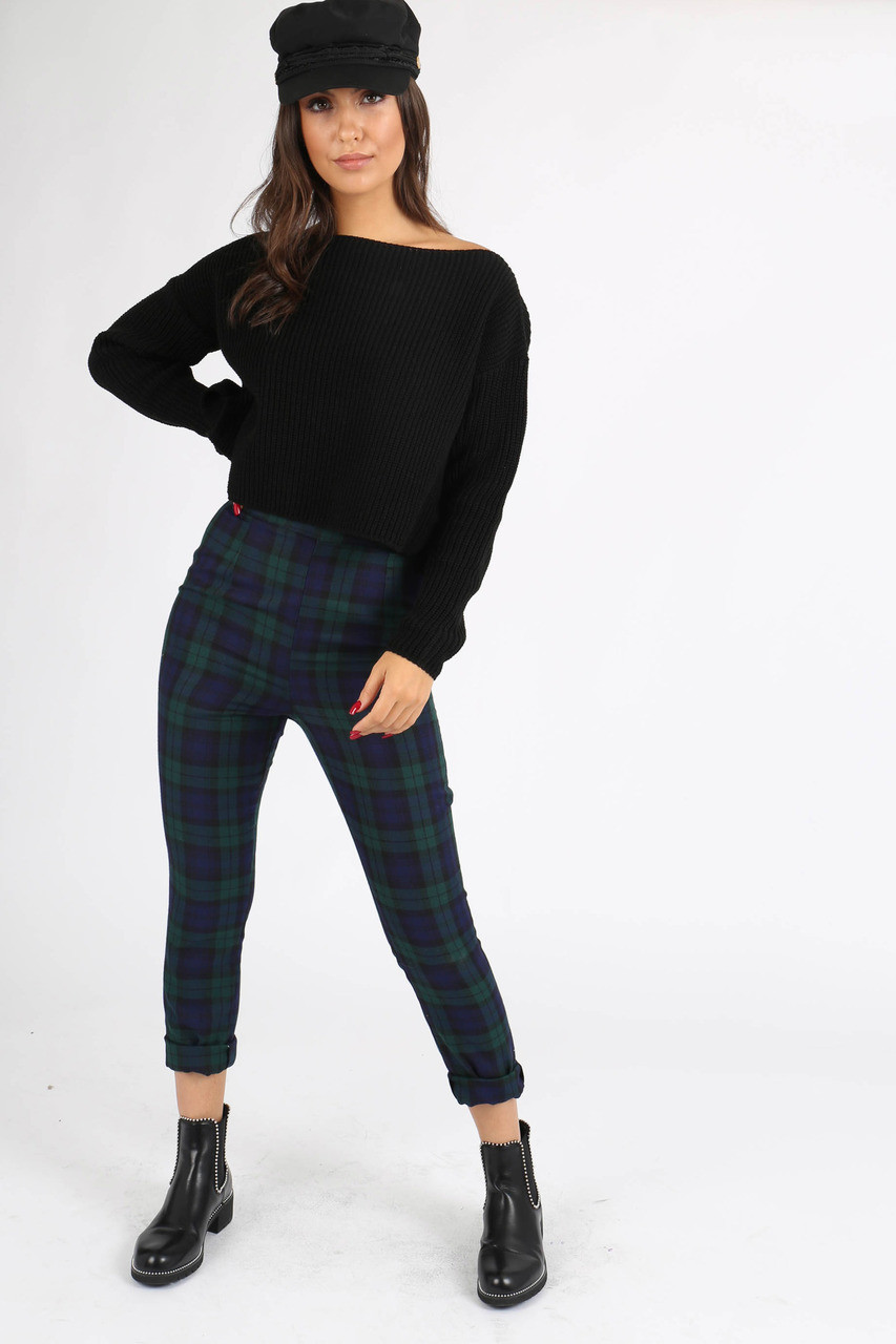 Black Chunky Knit Wide Neck Crop