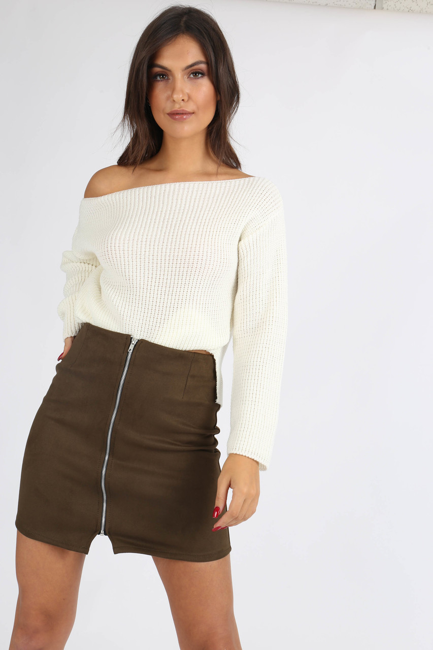 Khaki Suedette Zip Front Mini Skirt