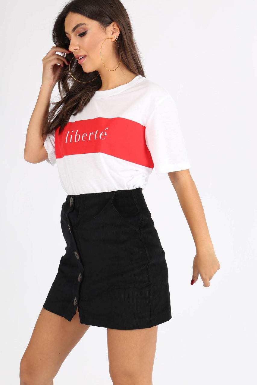 Black Cord Button Down Mini Skirt