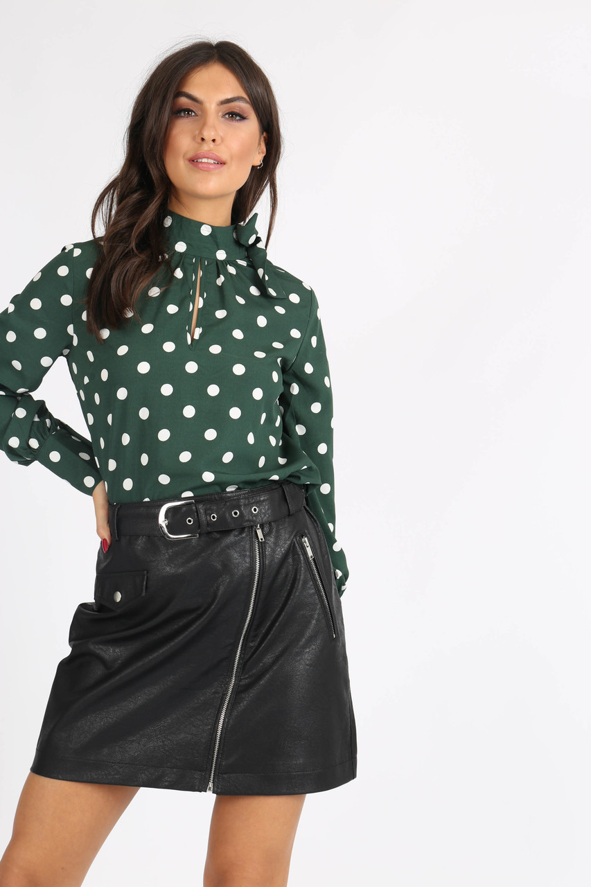 Green Polkadot Tie Neck Blouse