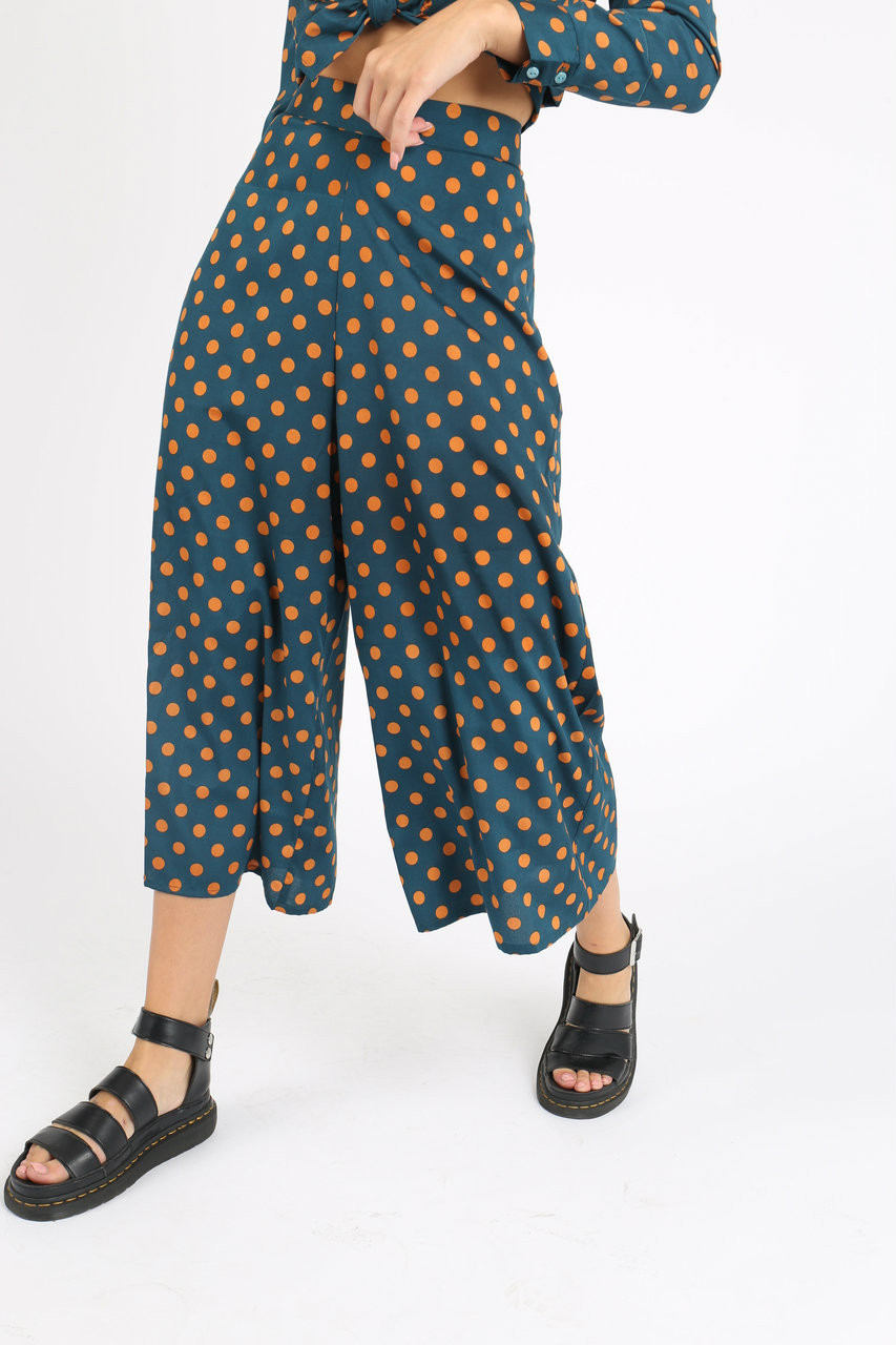Green Mustard Spot Culotte Trousers