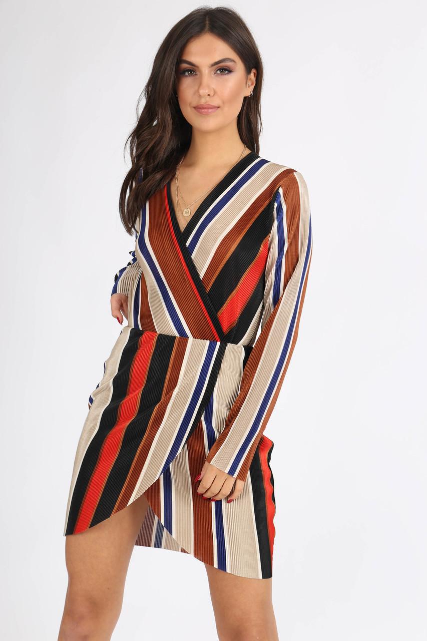 Brown Multi Stripe Plissé Mini Dress
