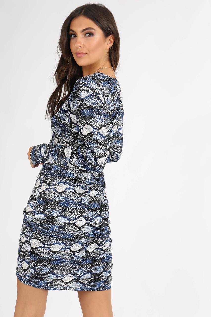 Blue Snake Print Plissé Mini Dress