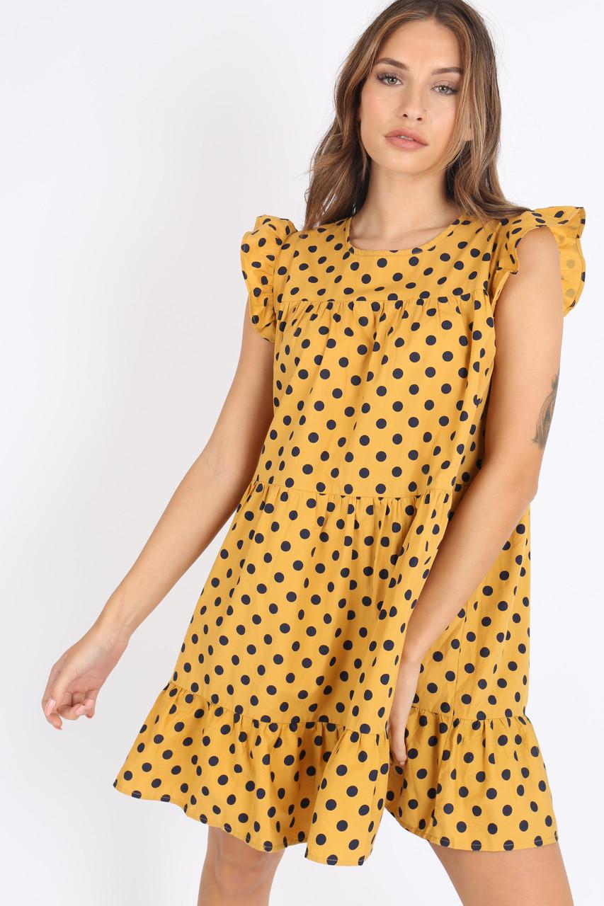 Mustard Spot Ruffle Hem Smock Mini