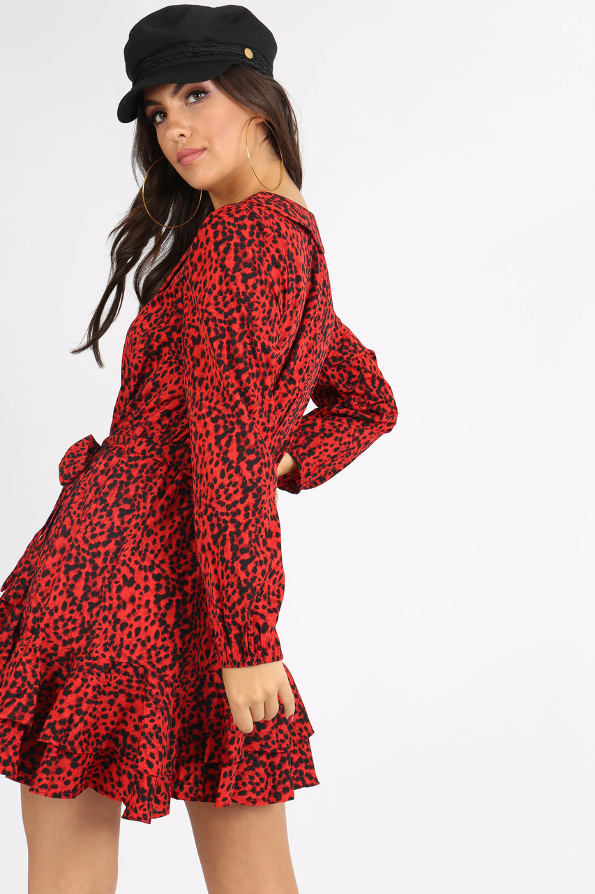 Red Animal Print Ruffle Hem Mini Dress
