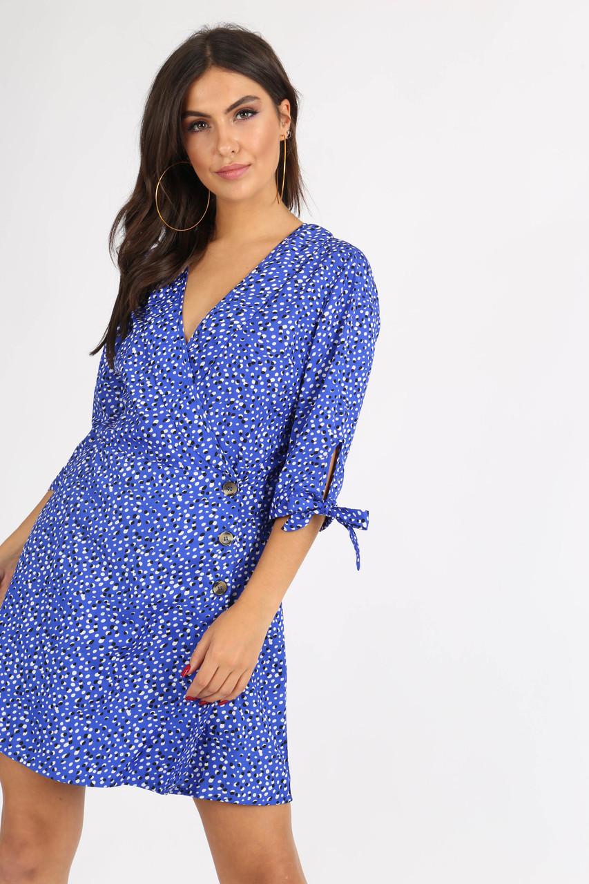 Blue Irregular Spot Side Button Mini Dress