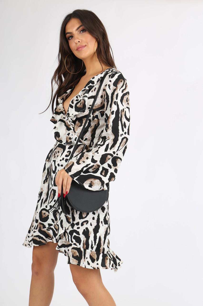 Leopard Print Flute Sleeve Wrap Dress