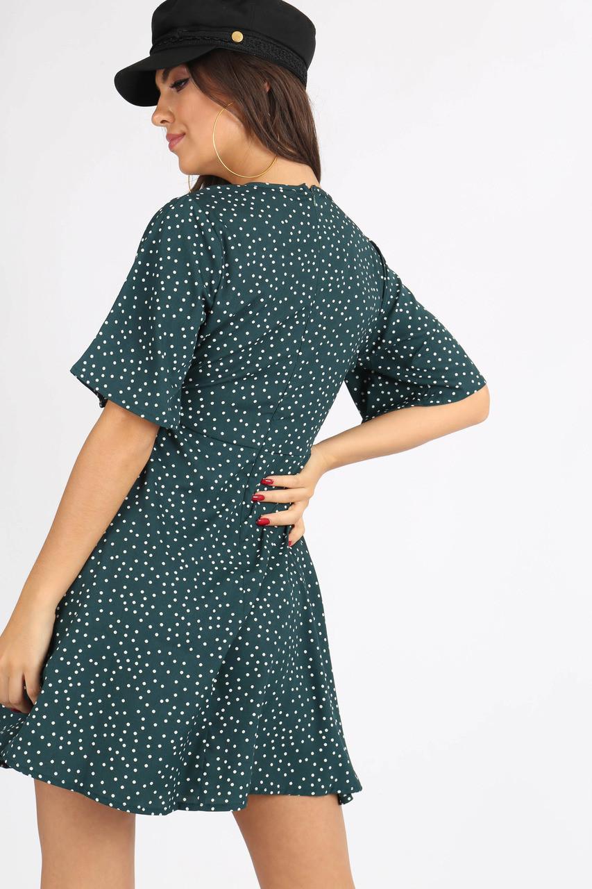 Green Polkadot Tie Front Mini Dress
