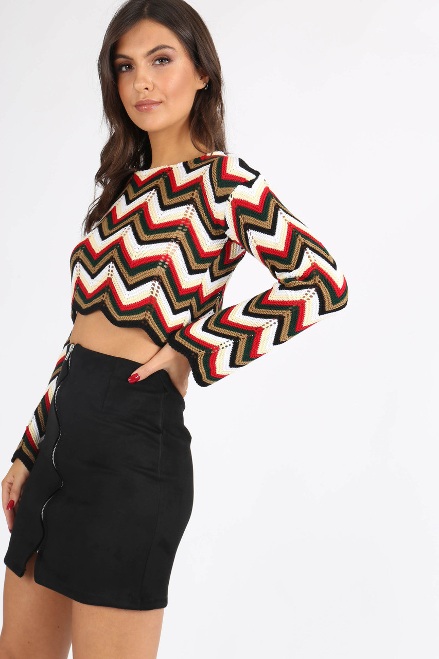 Multi Stripe Chevron Knitted Crop Jumper